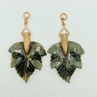 Solid Brass Large Moss Agate Leaves