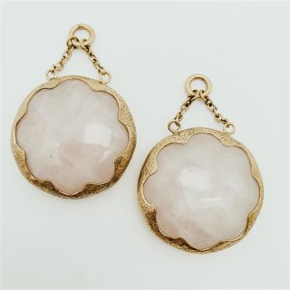 Solid brass Cushion Dangle Rose Quartz Small