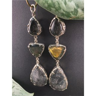 Sterling Silver Faceted labradorite and Tourmalated Quartz triple Dangle