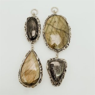Sterling Silver Faceted Labradorite Tourmalated Quartz Double Dangle