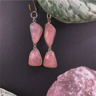 Sterling Silver Abstract Faceted Rose Quartz Double Dangle