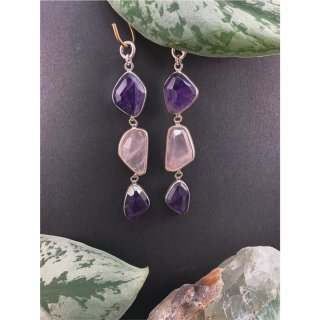 Sterling Silver Abstract Faceted Rose Quartz and Amethyst Triple Dangle