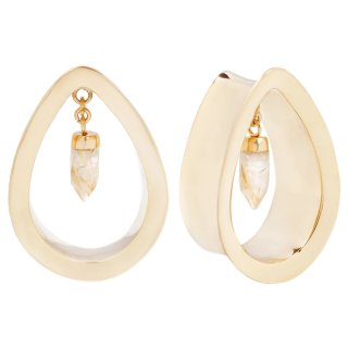 Yellow Gold plated Divine teardrops with gold rutilated quartz