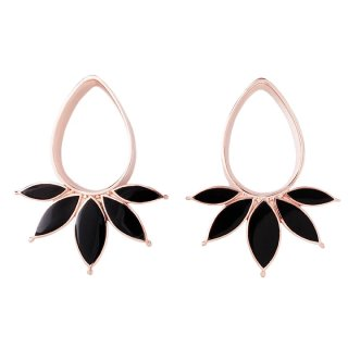 Rose Gold plated Marquise Eyelets with Onyx