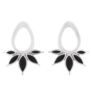 White Gold plated Marquise Eyelets with Onyx