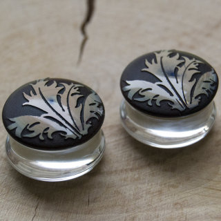 Torian Plugs, Thistle Leaf, Double Flare, Sea Green Pair