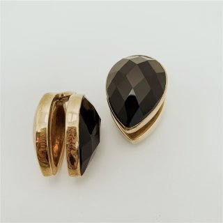 Solid Brass Stone Spades with faceted Obsidian 19mm