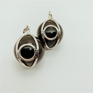 Sterling Silver 30 mm Eye Globes with Black Obsidian