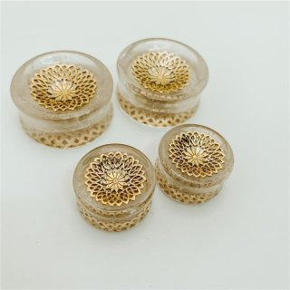 Brass Mandala Plugs Crystal Quartz
