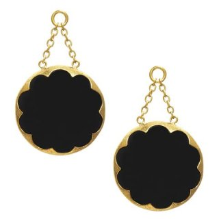 Solid Brass Cushion Dangles Black Obsidian large