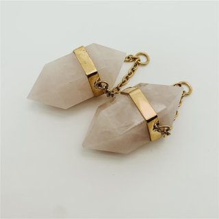 Solid Brass 55mm Double Terminated Rose Quartz Crystal