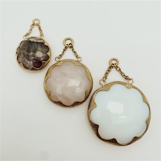Solid Brass Cushion Dangle Fluorite small