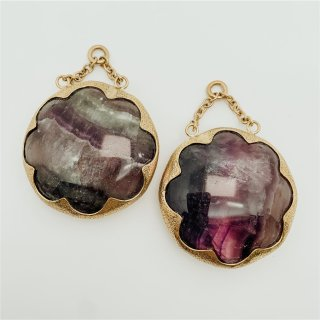 Solid Brass Cushion Dangles Fluorite large